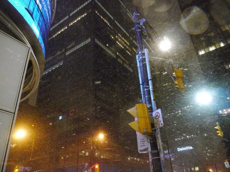 Poussés par le vent, les flocons n'avaient aucun mal à se frayer un chemin dans la forêt de gratte-ciels du centre-ville.